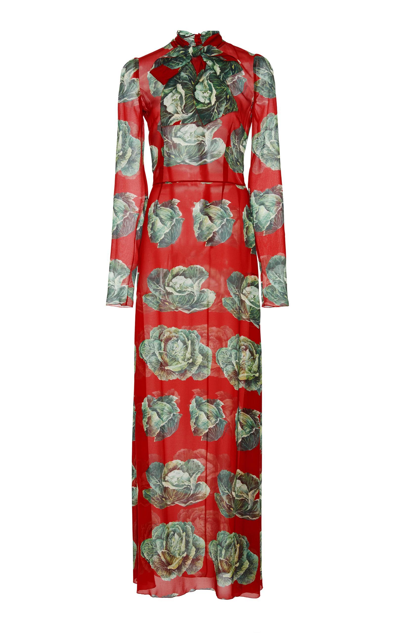 Dolce & Gabbana Cabbage Print Maxi Dress In Red