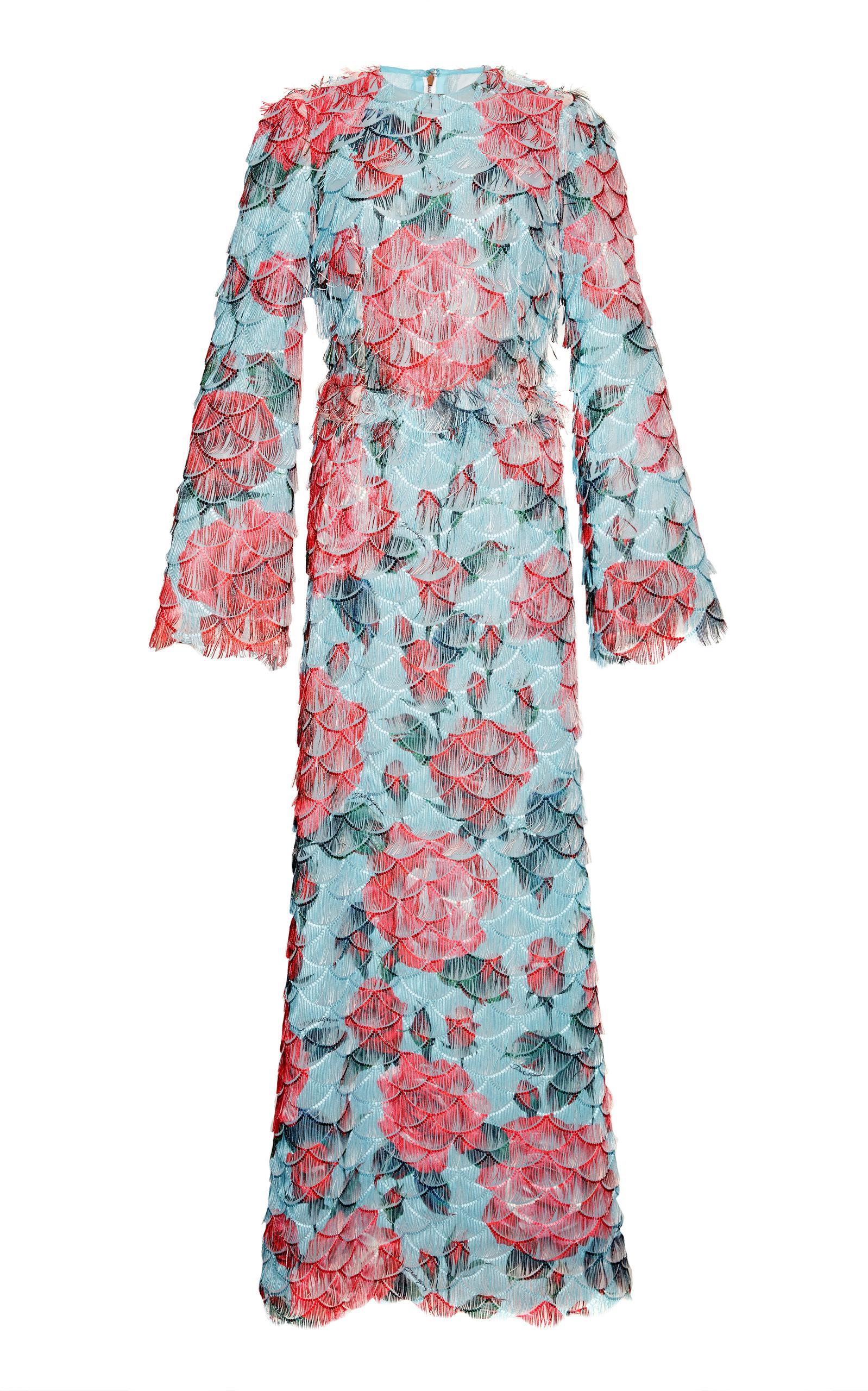 Dolce & Gabbana Laser Cut Floral Dress In Blue
