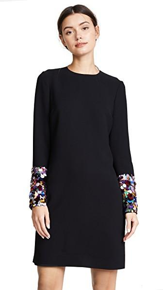 Victoria Victoria Beckham Sequin Cuff Shift Dress In Black/Multi