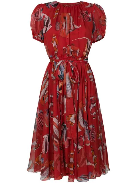 Dolce & Gabbana Short-Sleeve Belted Fish-Print Pleated Chiffon Cocktail Dress In Red