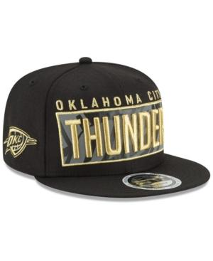 New Era Oklahoma City Thunder Golden Reflective 9Fifty Snapback Cap In Black/Metallic Gold/Reflective Silver