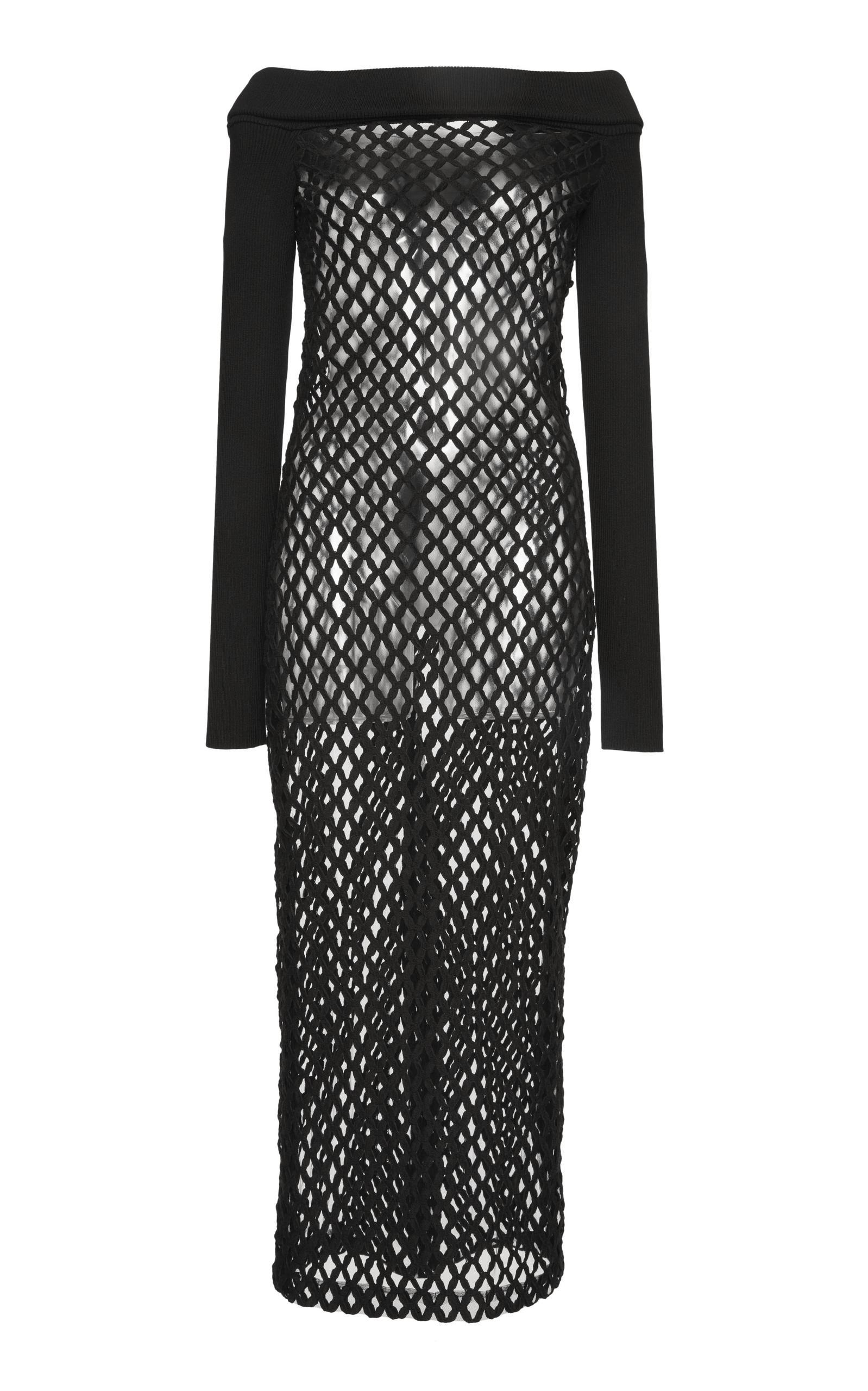 Dolce & Gabbana Off The Shoulder Knit Dress In Black