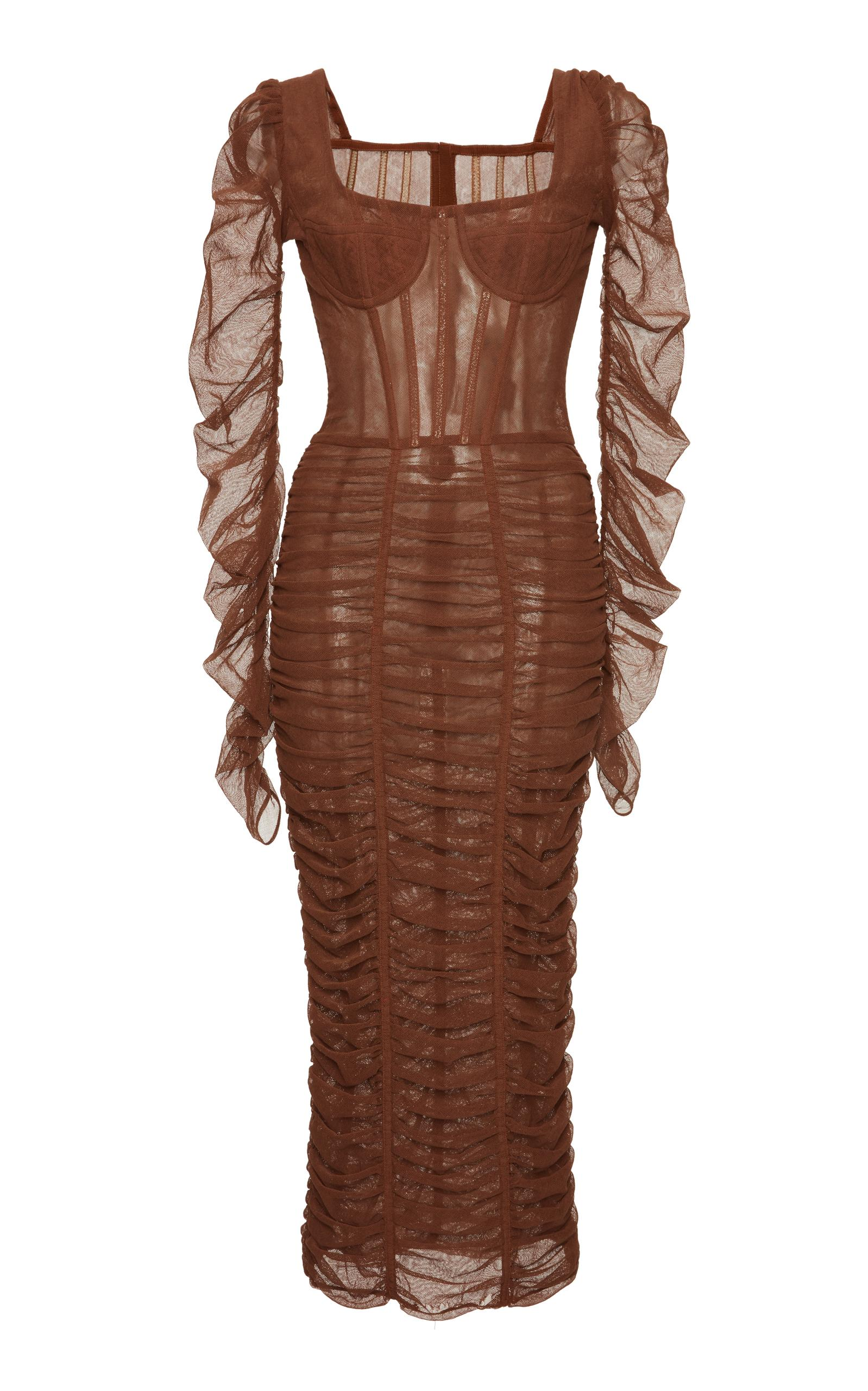 Dolce & Gabbana Long Sleeve Ruched Dress In Brown