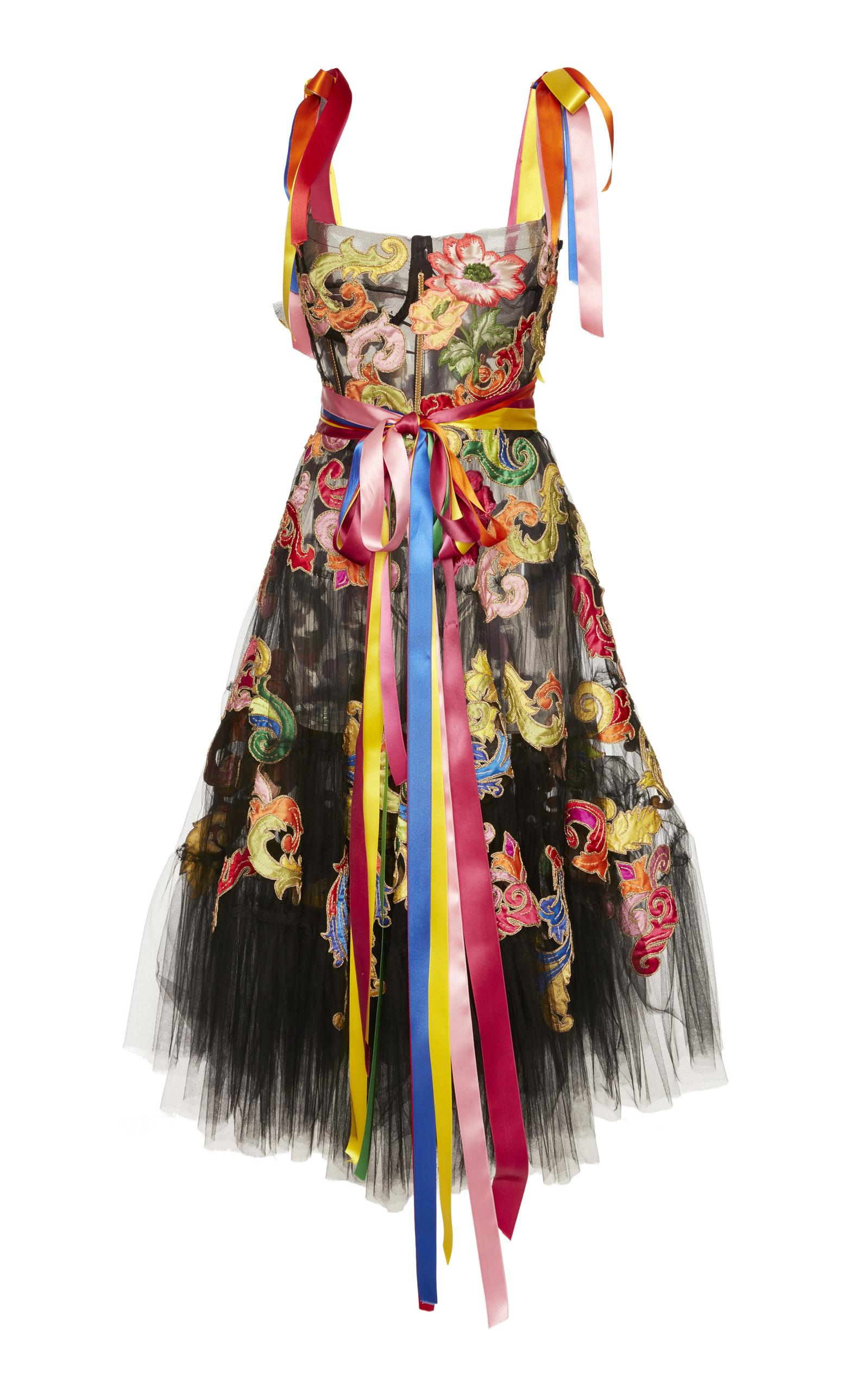 Dolce & Gabbana Embroidered Tulle Dress In Black