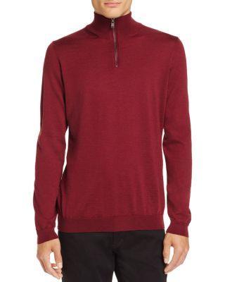 Boss Banello Quarter-Zip Virgin Wool Sweater - 100% Exclusive In Dark Red