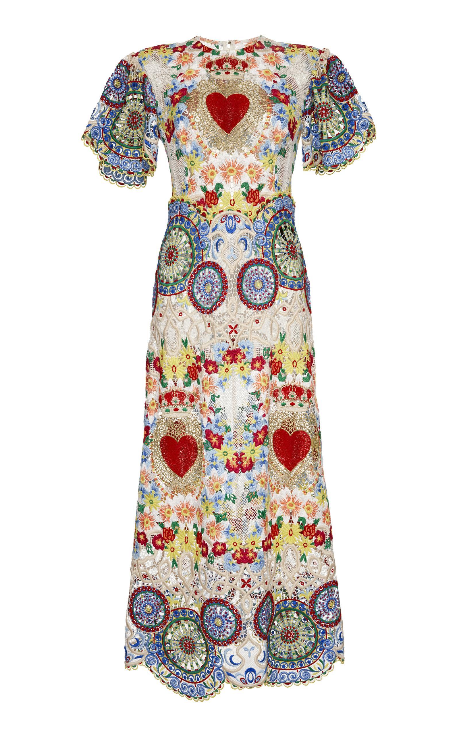 Dolce & Gabbana Short Sleeve Embroidered Dress In Multi