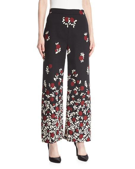 Lela Rose Wide-Leg DegradÉ Floral Pants In Black Pattern