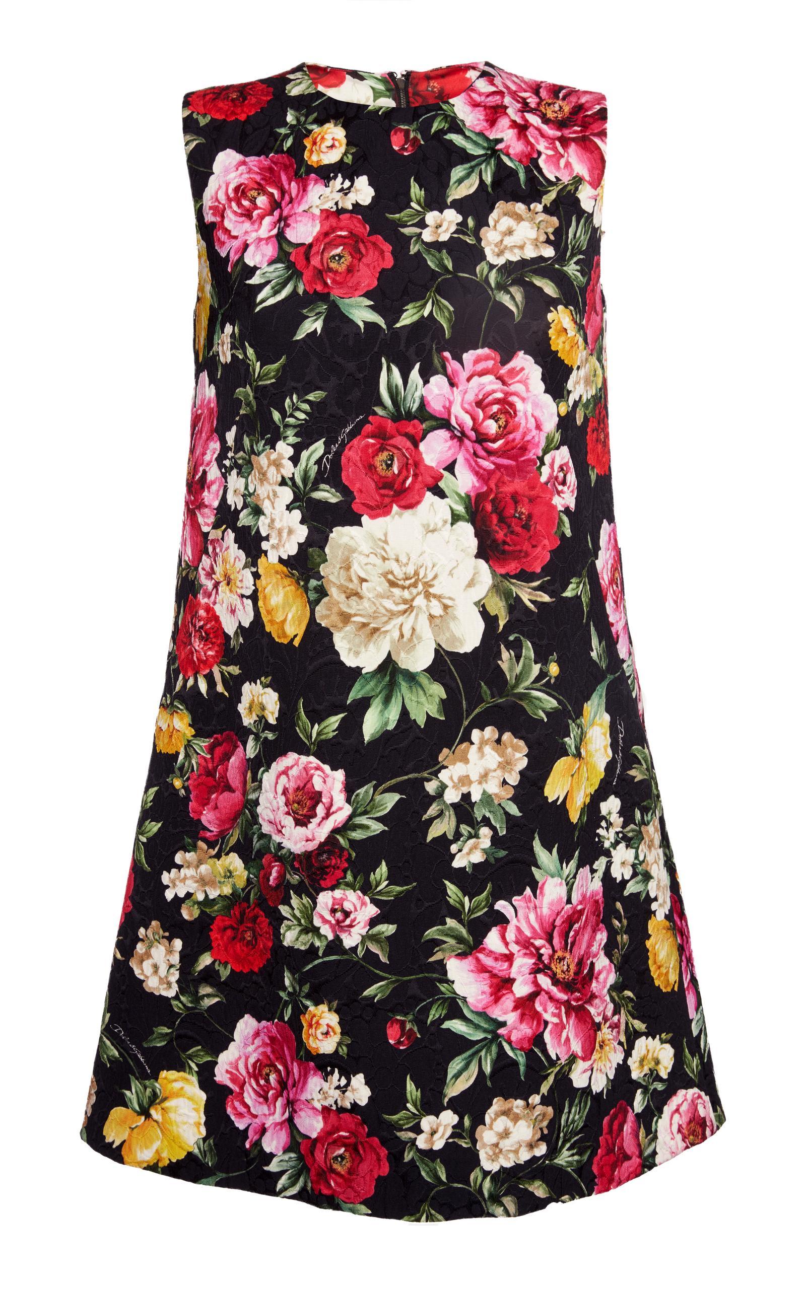 Dolce & Gabbana Rose Print Shift Dress In Floral