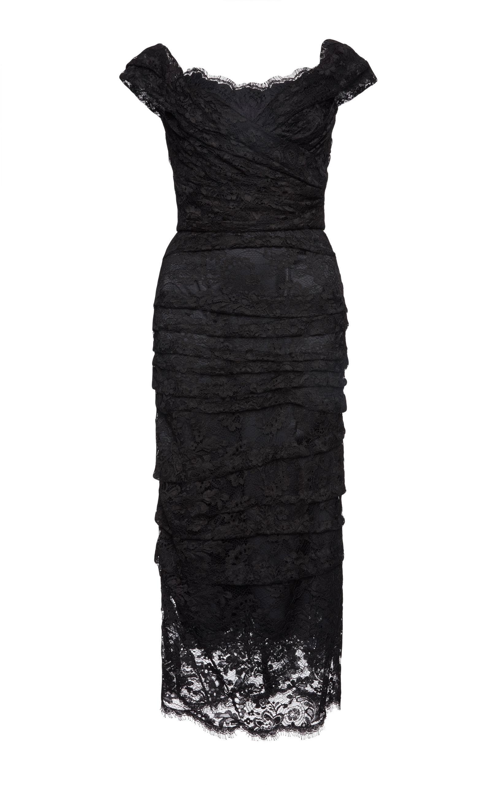 Dolce & Gabbana Off The Shoulder Lace Dress In Black