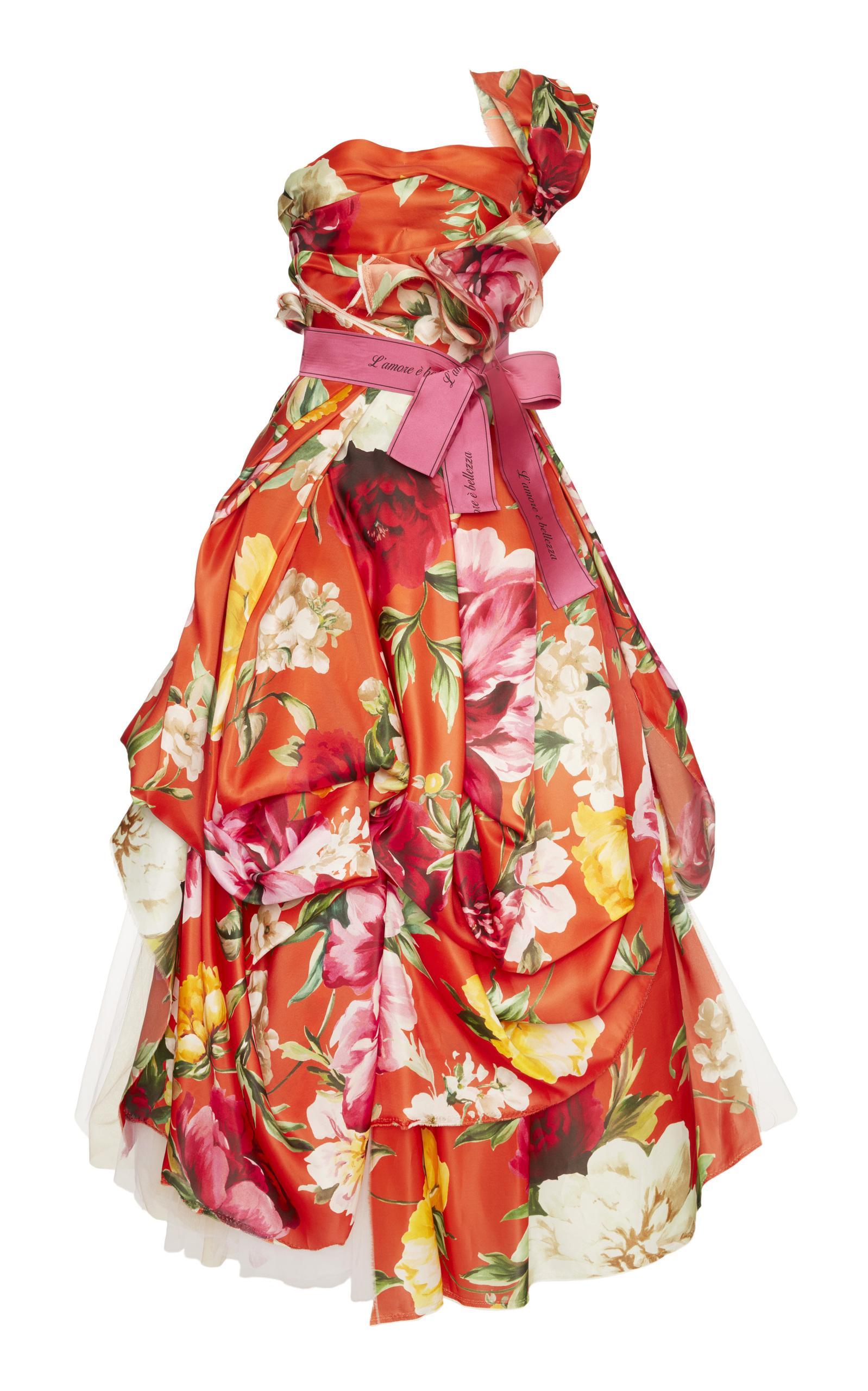 Dolce & Gabbana Off The Shoulder Floral Gown