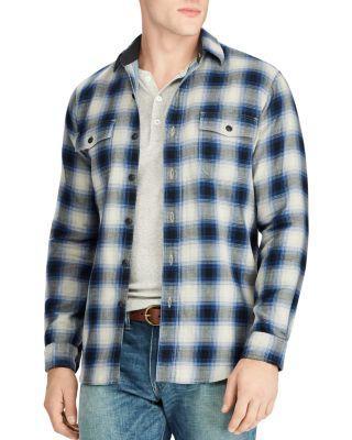 Polo Ralph Lauren Kobe Flannel Long Sleeve Button-Down Shirt In Blue / Black