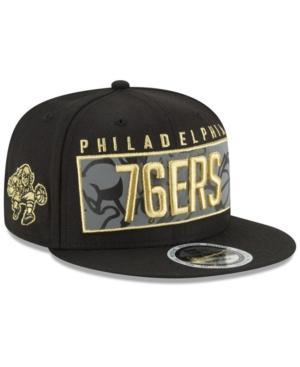 New Era Philadelphia 76Ers Golden Reflective 9Fifty Snapback Cap In Black/Metallic Gold/Reflective Silver