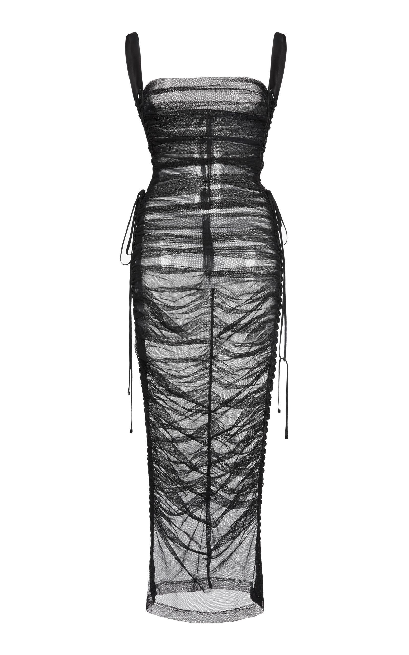 Dolce & Gabbana Ruched Midi Dress In Black