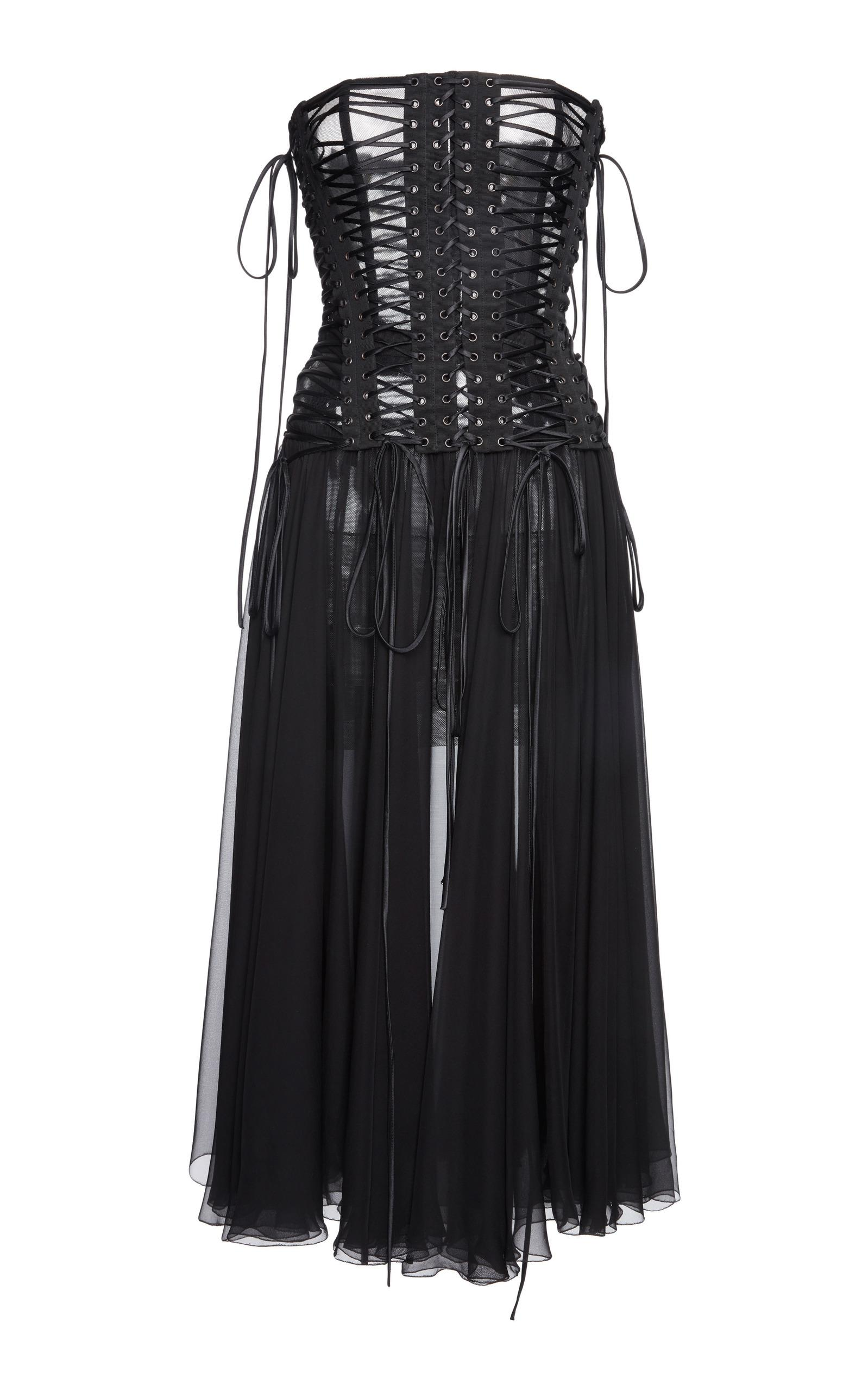 Dolce & Gabbana Laced Corset Bandeau Dress In Black