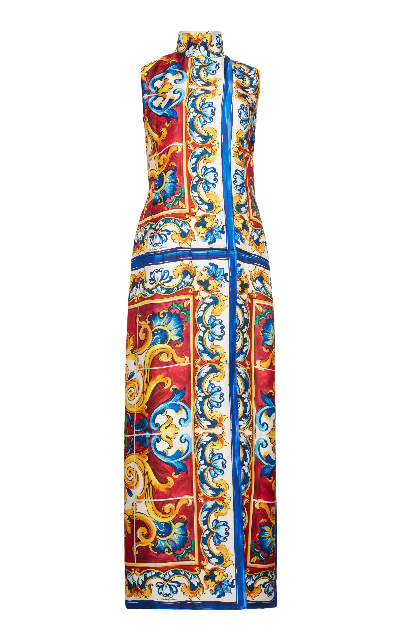 Dolce & Gabbana Sleeveless Mock Neck Dress In Print