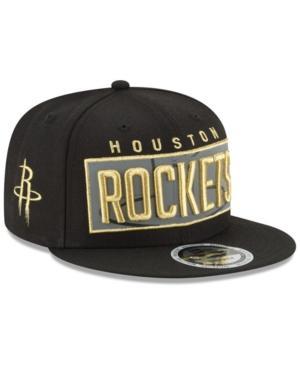 New Era Houston Rockets Golden Reflective 9Fifty Snapback Cap In Black/Metallic Gold/Reflective Silver