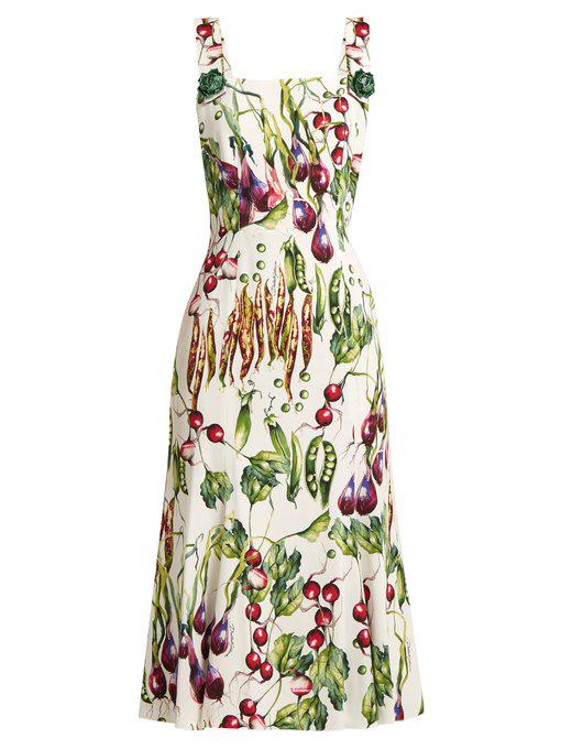 Dolce & Gabbana Vegetable-Print Square-Neck Dress In Green Print