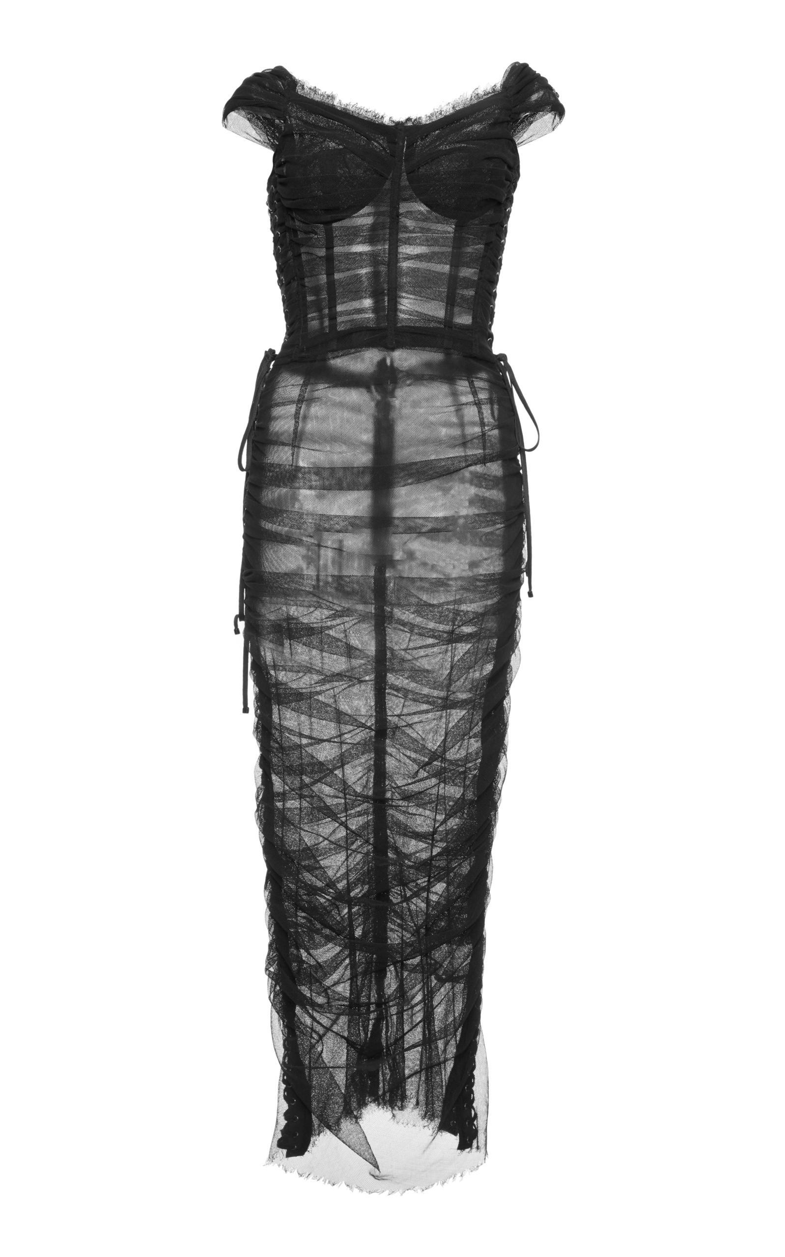 Dolce & Gabbana Off The Shoulder Ruched Dress In Black