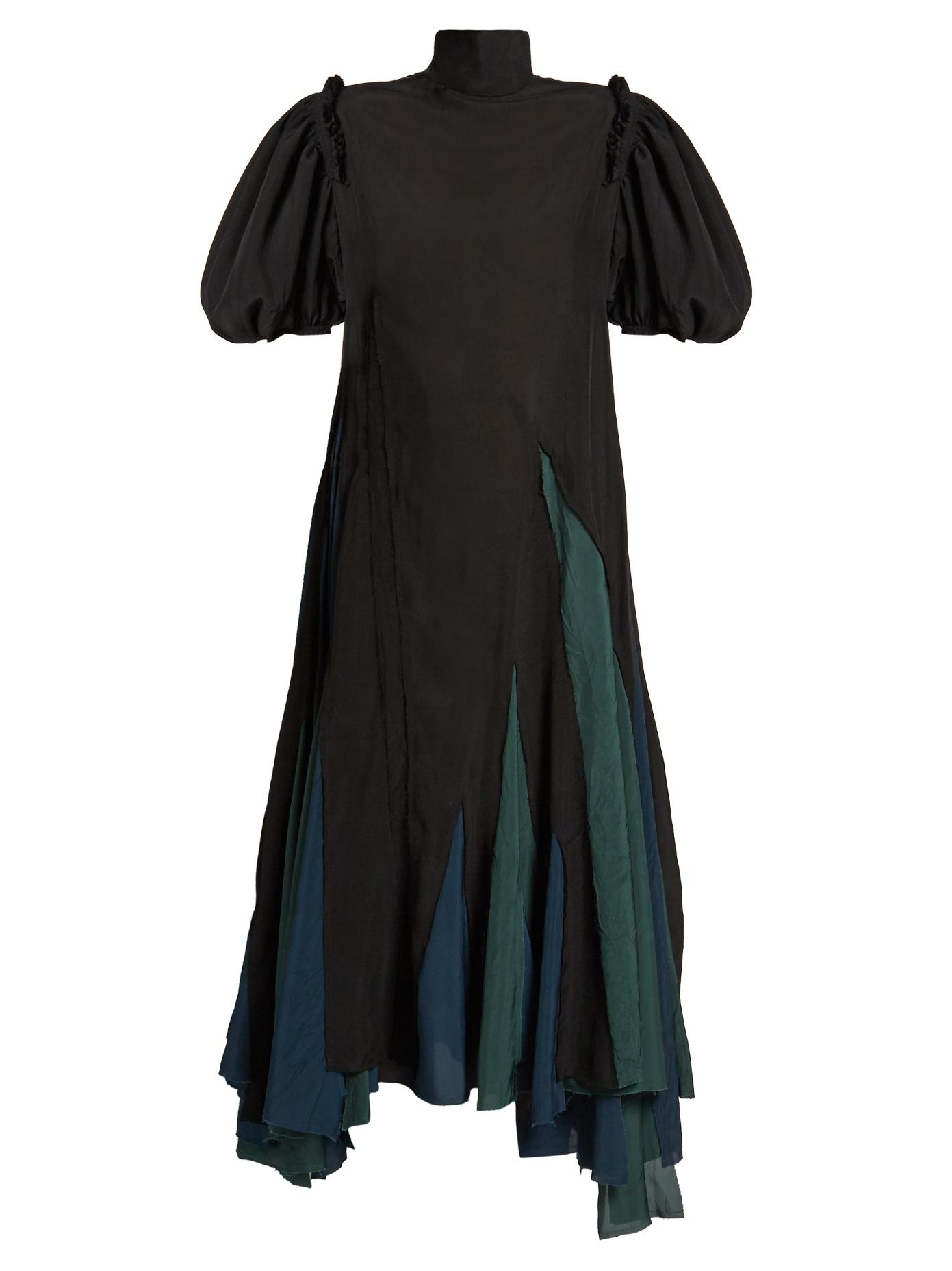 Loewe Balloon-Sleeved Asymmetric-Hem Dress In Black Green