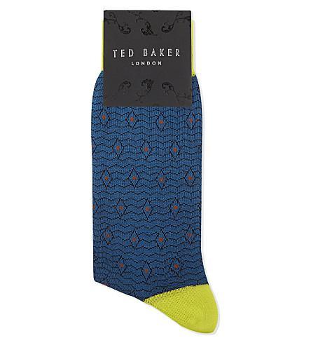 Ted Baker Organic Cotton-Blend Geometric Socks In Dark Blue