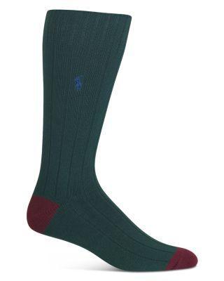 Polo Ralph Lauren Color Block Casual Rib Socks In Highland Green