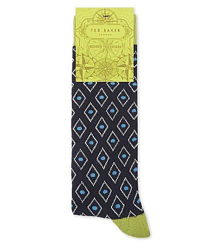 Ted Baker Organic Cotton-Blend Diamond Print Socks In Navy