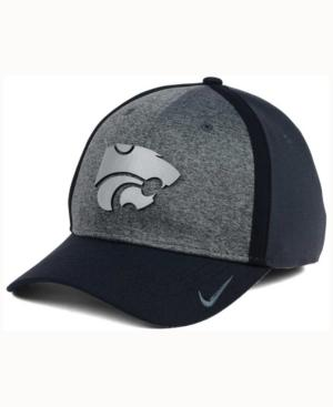 Nike Kansas State Wildcats Heather Stretch Fit Cap In Anthracite/Reflective Silver