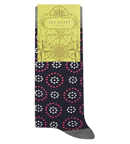 Ted Baker Organic Cotton-Blend Spotted Circle Socks In Navy
