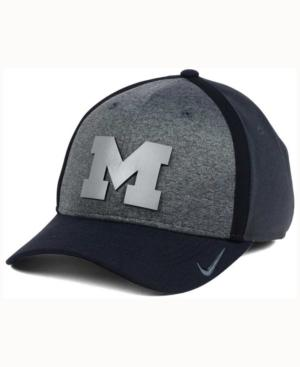 Nike Michigan Wolverines Heather Stretch Fit Cap In Anthracite/Reflective Silver