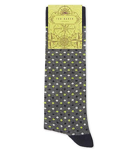 Ted Baker Doodle Organic Cotton-Blend Socks In Grey Marl