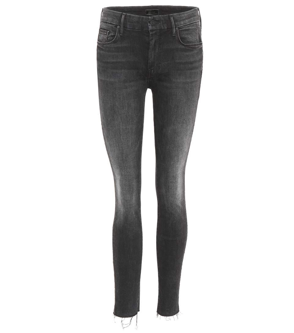 Mother Looker Ankle Fray Skinny Jeans In Eight Hawk