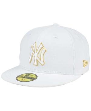 New Era New York Yankees White On Metallic 59Fifty Cap In White/Metallic Gold