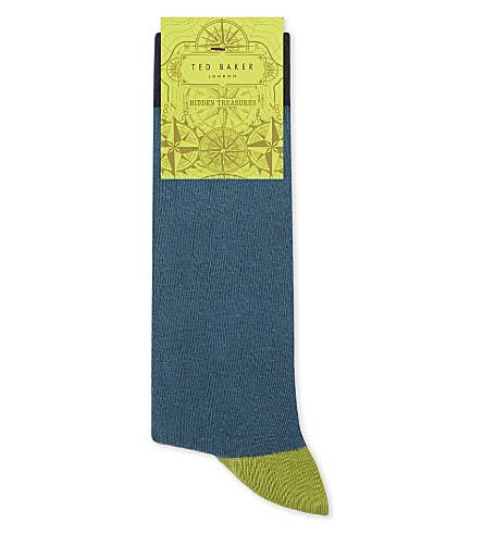 Ted Baker Colour-Block Organic Cotton-Blend Socks In Teal