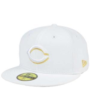New Era Cincinnati Reds White On Metallic 59Fifty Cap In White/Metallic Gold