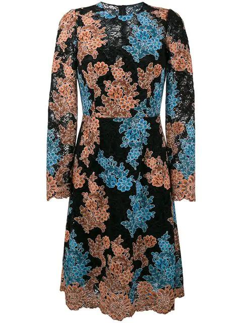 Dolce & Gabbana Floral-Embroidered Cordonetto-Lace Dress In Multicolour