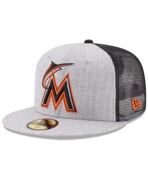 New Era Miami Marlins New School Mesh 59Fifty Fitted Cap In Heather Gray