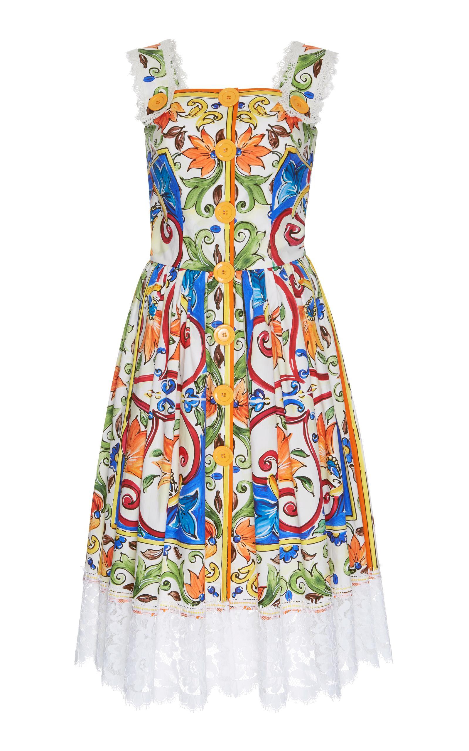Dolce & Gabbana Majolica-Print Square-Neck Cotton-Blend Dress In Multicoloured