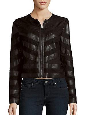 Bagatelle Striped Long Sleeve Moto Jacket In Black