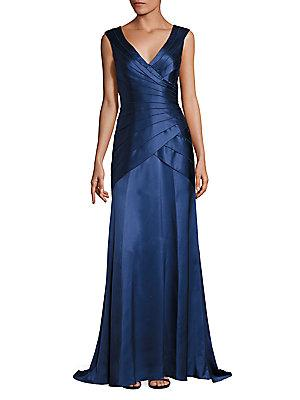 Theia Tiered Wrap Gown In Indigo
