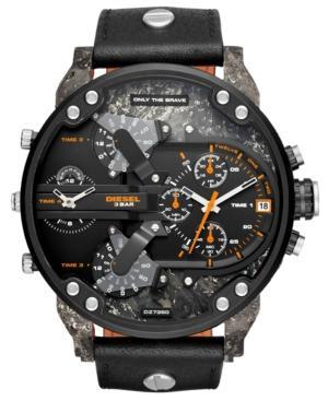 Diesel Men's Chronograph Mr. Daddy 2.0 Black Leather Strap Watch 57Mm
