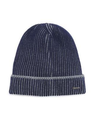 Hugo Boss Balerio Two-Color Knit Hat In Navy