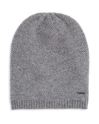 Hugo Boss Textured Knit Beanie In Grey