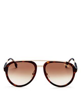 Carrera Men's Brow Bar Aviator Sunglasses, 57Mm In Havana/Gold