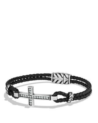 David Yurman Cross Bracelet With Gray Sapphires And Blue Lace Agate In Black