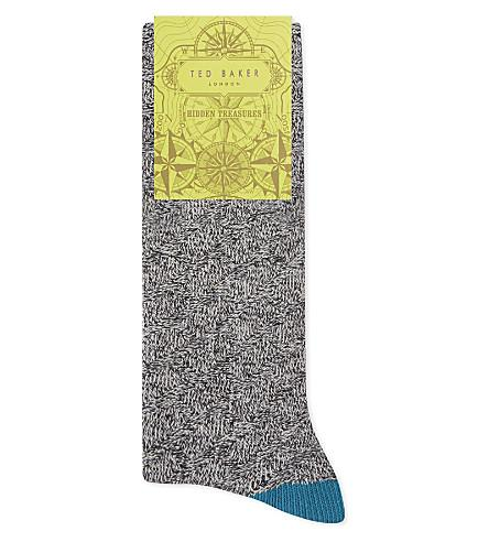 Ted Baker Textured Organic Cotton-Blend Socks In Charcoal