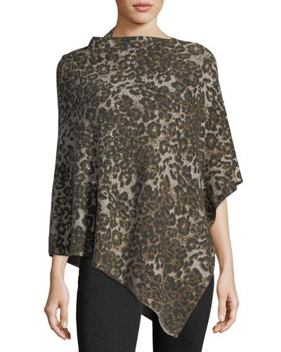 Neiman Marcus Sequined Leopard-Print Poncho In Taupe