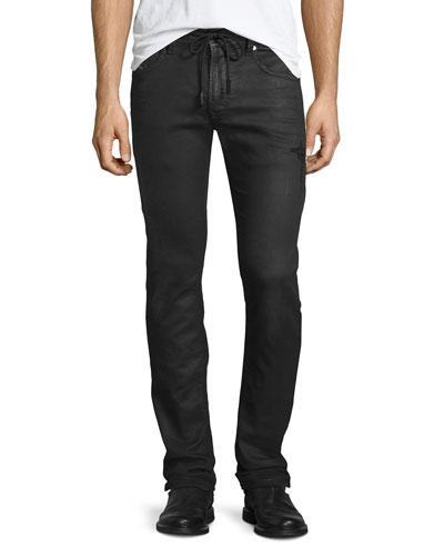 Diesel Thavar Distressed Jogger-Style Jeans, Black