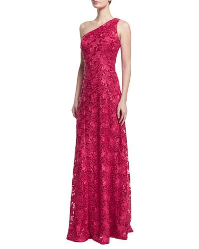 David Meister One-Shoulder Lace A-Line Gown In Pink