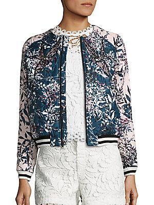 Parker Maverick Embroidered Floral Jacket In Blue Multi