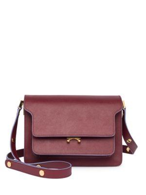 Marni Bicolor Triple-Gusset Shoulder Bag In Ruby